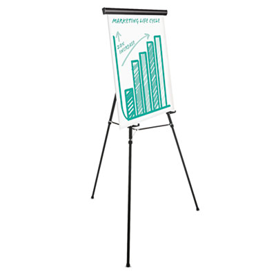 "Heavy Duty Presentation Easel, 69"" Maximum Height, Metal, Black"