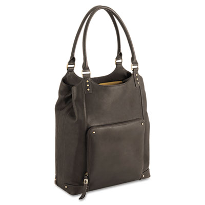 "Executive Leather/Poly Bucket Tote, 16"", 13 1/2 x 4 1/2 x 16, Es"