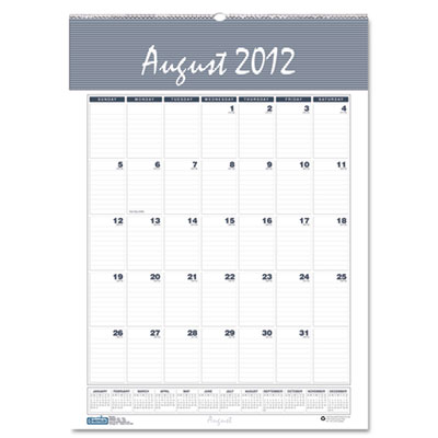 Bar Harbor Wirebound Academic Monthly Wall Calendar, 15-1/2 x 22