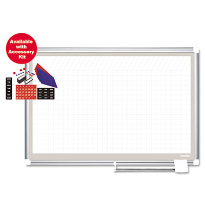All-Purpose Planner w/Accessories, 1x2 Grid, 48x36, Aluminum Fra