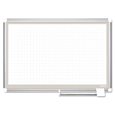 All Purpose Porcelain Planner Dry Erase Board, 1x2 Grid, 36x24,