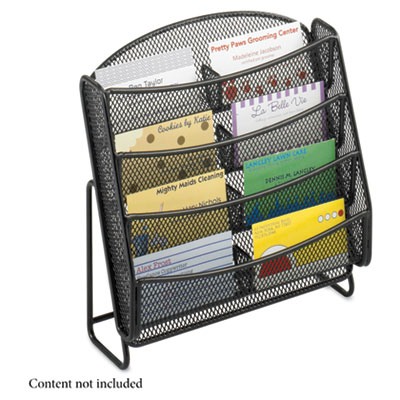 Eight-Pocket Business Card Display, Holds 2 x 3 1/2 Cards, Black