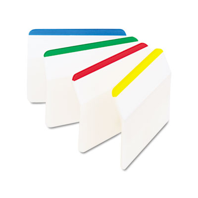 Durable Hanging File Tabs, 2 x 1 1/2, Striped, Assorted Colors,