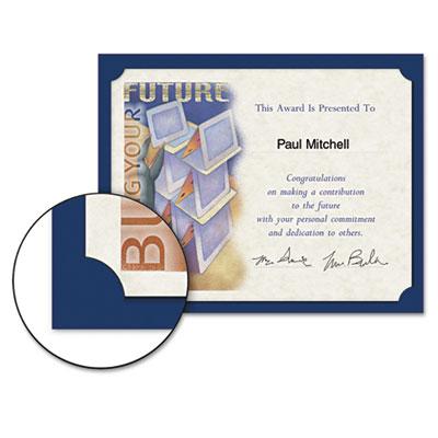 Certificate Holder, 12 x 9-1/2, Navy, Linen, 105 lbs., 10/Pack