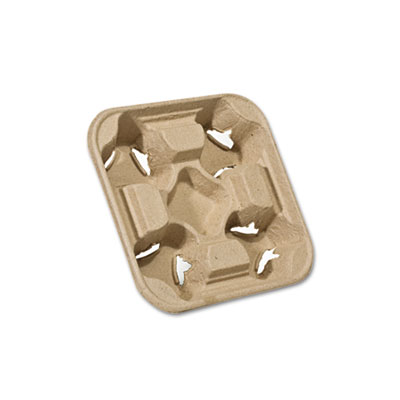 Heavyweight 4-Cup Carry Tray, 6 x 2 x 6, Natural, 75/Pack