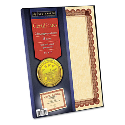 Parchment Certificates, Copper w/Red & Brown Border, 24 lbs, 8-1