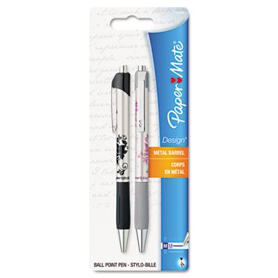 Ballpoint Retractable Design Pen, Black Ink, Medium, 2 per Pack