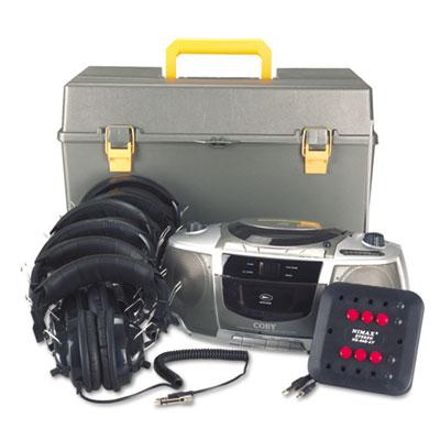 Deluxe CD/Cassette/AM/FM Six-Station Listening Center, Gray