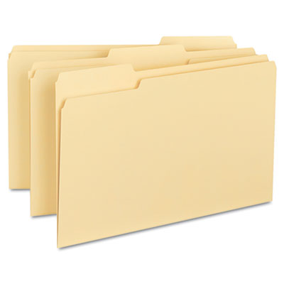 100% Recycled File Folders, 1/3 Cut, One-Ply Top Tab, Legal, Man