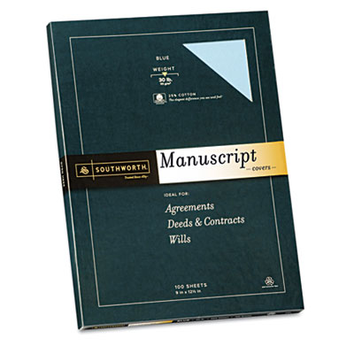 25% Cotton  Manuscript Covers, Blue, 30 lbs., Wove, 9 x 12-1/2,