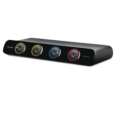SOHO Desktop KVM Switch With Cables, 4-Port, USB