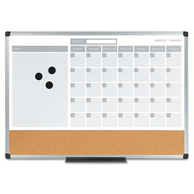 3-in-1 Planner, 24X18, Dry Erase/Calendar/Cork, Alum. Frame