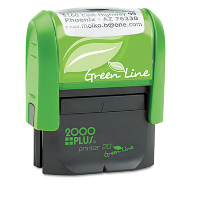 2000 PLUS Green Line Self-Inking Custom Message Stamp, 1/2 x 1 3