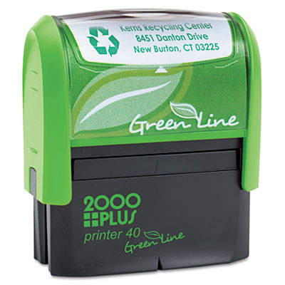 2000 PLUS Green Line Self-Inking Custom Message Stamp, 7/8 x 2 5