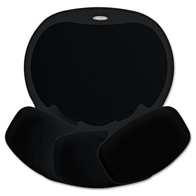 Easy Glide Gel Mouse Pad w/Wrist Rest, 10 x 12, Black/Black