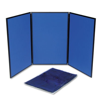 ShowIt Three-Panel Display System, Fabric, Blue/Gray, Black PVC