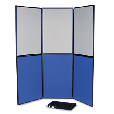 ShowIt Six-Panel Display System, Fabric, Blue/Gray, Black PVC Fr