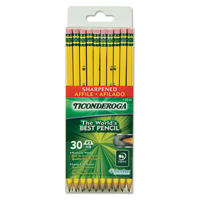 Pre-Sharpened Pencil, HB, #2, Yellow Barrel, 30 Per Pack