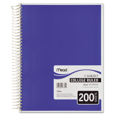 5 Subject Notebook, College Rule, 8-1/2 x 11, White, 200 Sheets