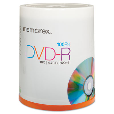 DVD-R Discs, 4.7GB, 16x, Spindle, Silver, 100/Pack