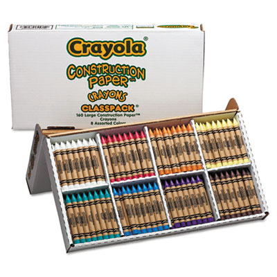 Construction Paper Crayons, Classpack, Wax, 20 Sets of 8 Colors,