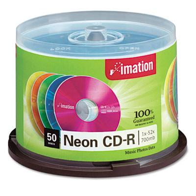 CD-R Discs, 700MB/80min, 52x, Spindle, Assorted Neon, 50/Pack