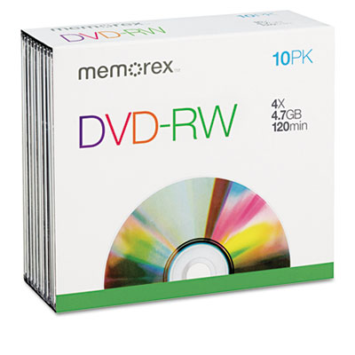 DVD-RW Discs, 4.7GB, 4x, w/Slim Jewel Cases, Silver, 10/Pack