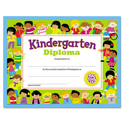 Colorful Classic Certificates, Kindergarten Diploma, 8 1/2 x 11,