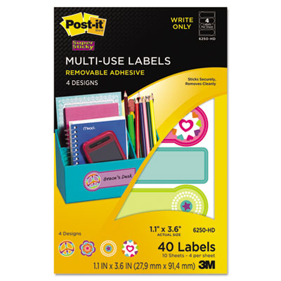 Designer Series Removable Multi-Use Labels, 1-1/10 x 3-6/10, 40/