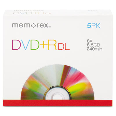 Dual-Layer DVD+R Discs, 8.5GB, 5/Pack