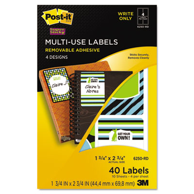 Designer Series Removable Multi-Use Labels, 1-3/4 x 2-3/4, 40/Pa