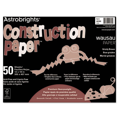 Astrobrights Construction Paper, 72-lb., 12 x 18, Grizzly Brown,