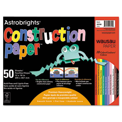 Astrobrights Construction Paper, 72-lb., 12 x 18, Assorted, 50 S