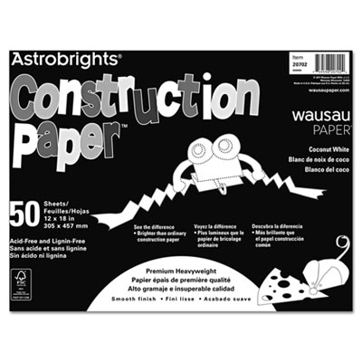 Astrobrights Construction Paper, 72-lb., 12 x 18, Coconut White,