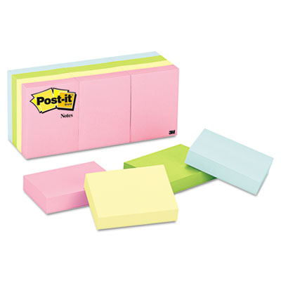 Color Notes, 1-1/2 x 2, Pastel Colors, 12 100-Sheet Pads/Pack
