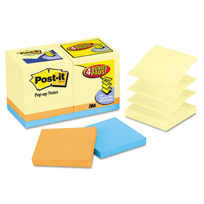 Bonus Pack Pop-Up Refills 3 x 3, Canary Yellow/Ast., 100-Sheet 1