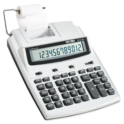 1212-3A Antimicrobial Printing Calculator, Blue/Red Print, 2.7 L