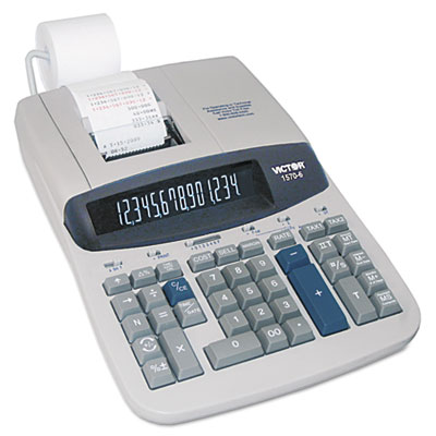 1570-6 Two-Color Ribbon Printing Calculator, Black/Red Print, 5.