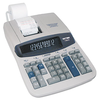1560-6 Two-Color Ribbon Printing Calculator, Black/Red Print, 5.