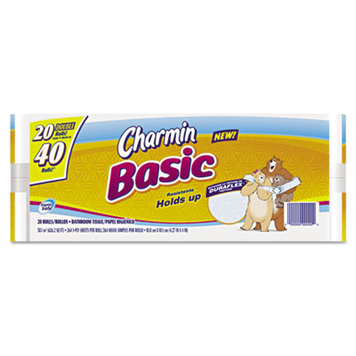 Basic Big Roll, 1-Ply, White, 264 Sheets Per Roll, 20 Rolls/Pack