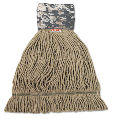 Patriot Looped End Wide Band Mop Head, Medium, Green/Brown, 12/C