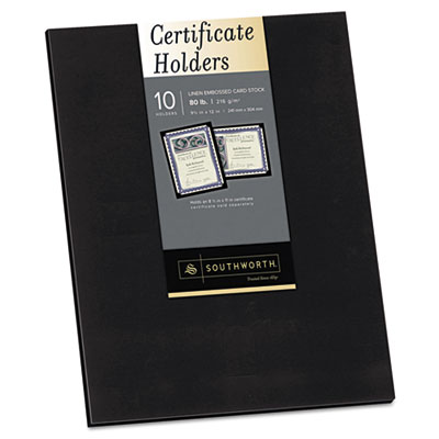 Certificate Holder, Black, Linen, 105 lbs., 12 x 9-1/2, 10/Pack
