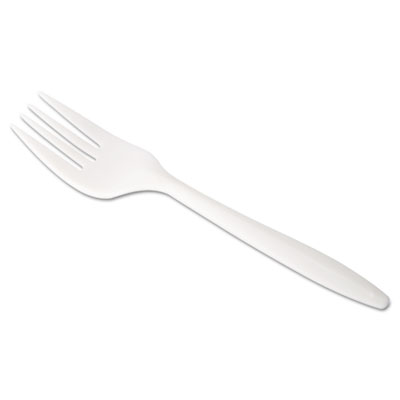 "Jaya Compostable Cutlery, 6"" Length, Fork, Pearl, 500/Carton"