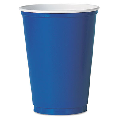Plastic Party Cold Cups, 12oz, Blue, 50/Pack