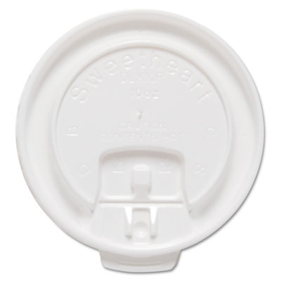 Liftbk & Lock Tab Cup Lids for Foam Cups, Fits 10oz Cups, White,
