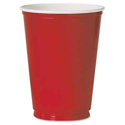 Plastic Party Cold Cups, 12oz, Red, 50/Pack