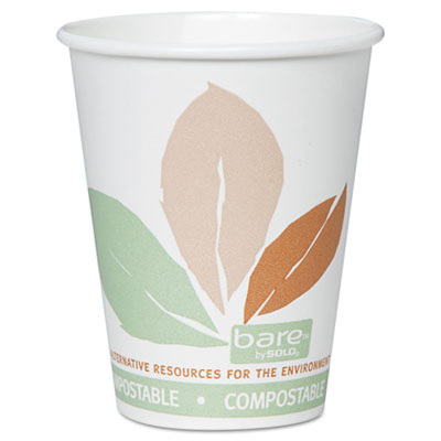 Bare PLA Hot Cups, White w/Leaf Design, 8oz, 500/Carton