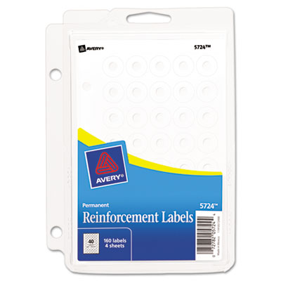 "Binder Pack Hole Reinforcements, 1/4"" Diameter, White, 160/Pack"