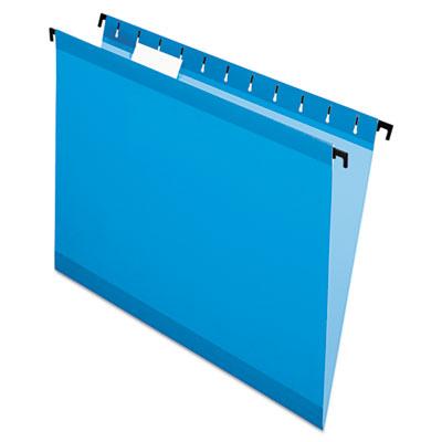 Poly Laminate Hanging Folders, Letter, 1/5 Cut, Blue, 20/Box