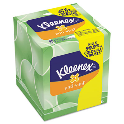 KLEENEX Anti-Viral Facial Tissue, 3-Ply, 68 Sheets/Box, 27 Boxes